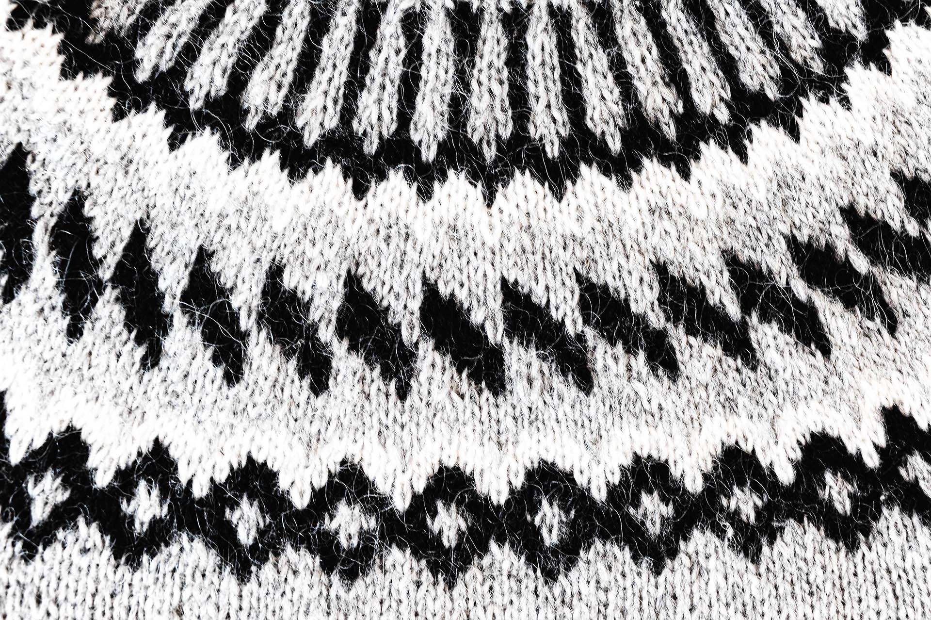 typisches Muster eines Islandpullovers aus Schafwolle