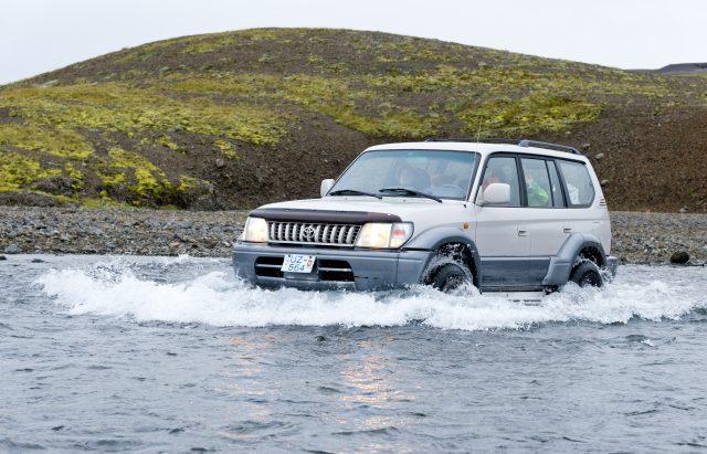 Flussdurchquerung, Jeep, Hochland, Island,
