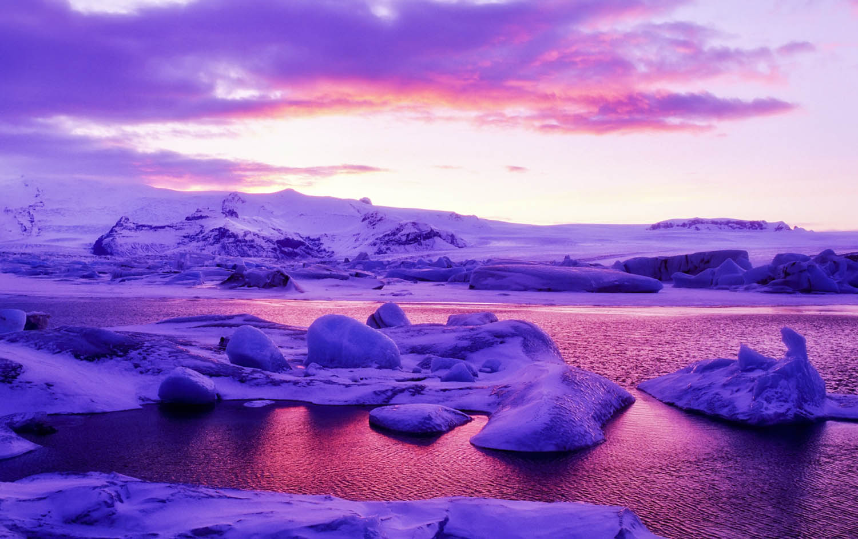 Gletscherlagune Jökulsarlon Island Winter