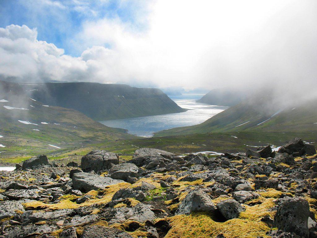 Neblige steinige Bucht in Island