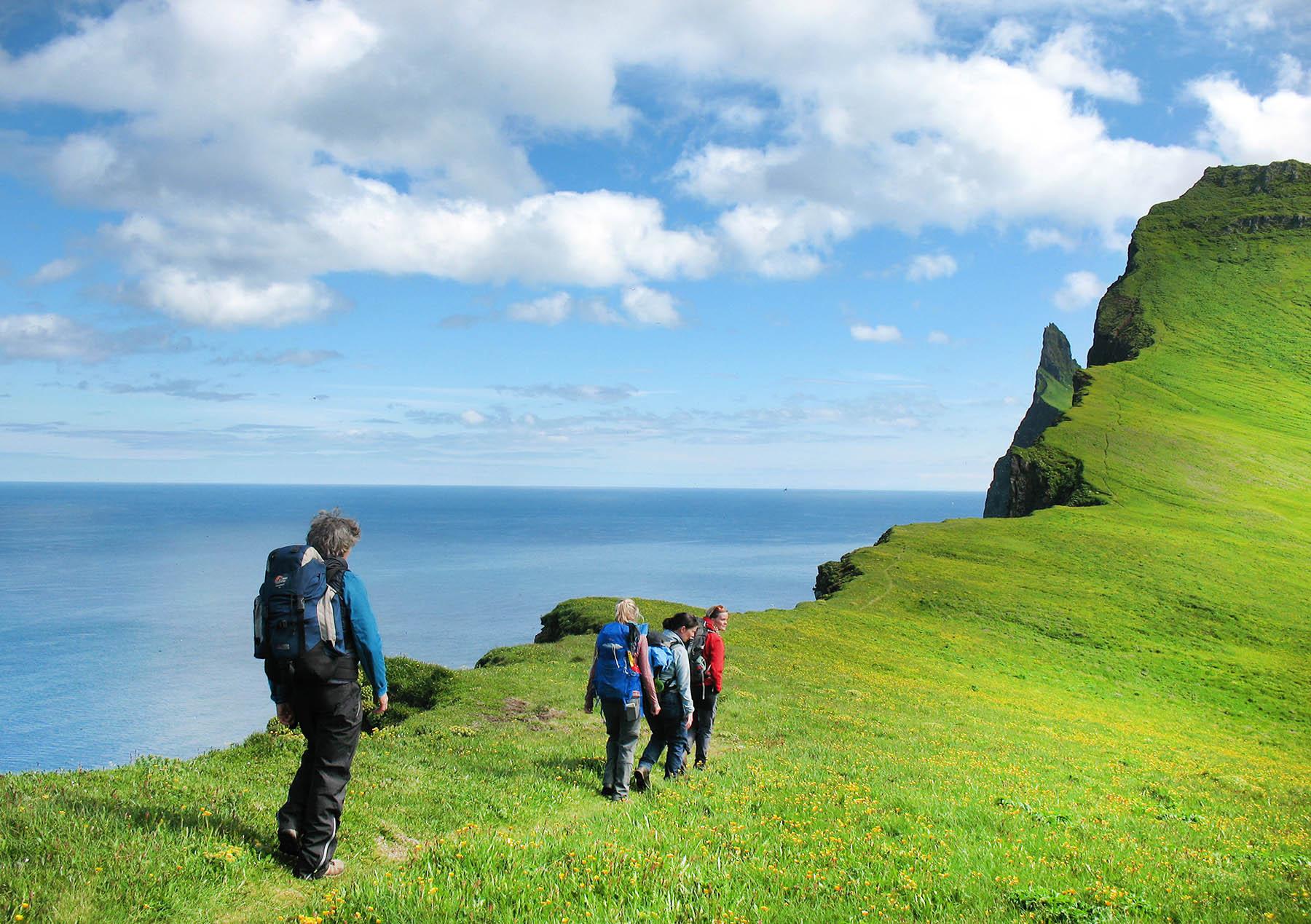 Reisegruppe wandert Islands Steilküsten entlang