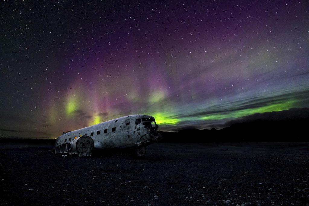 Polarlichter, Nordlichter, Flugzeugwrack, dc3, island