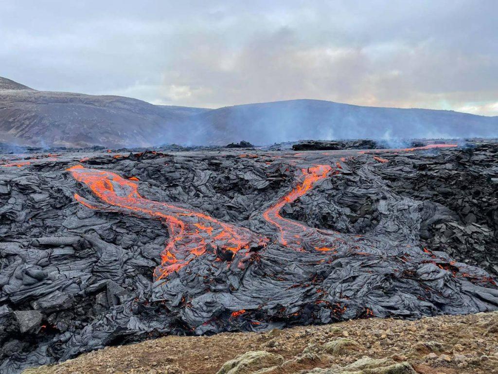 Island Vulkanausbruch Lava