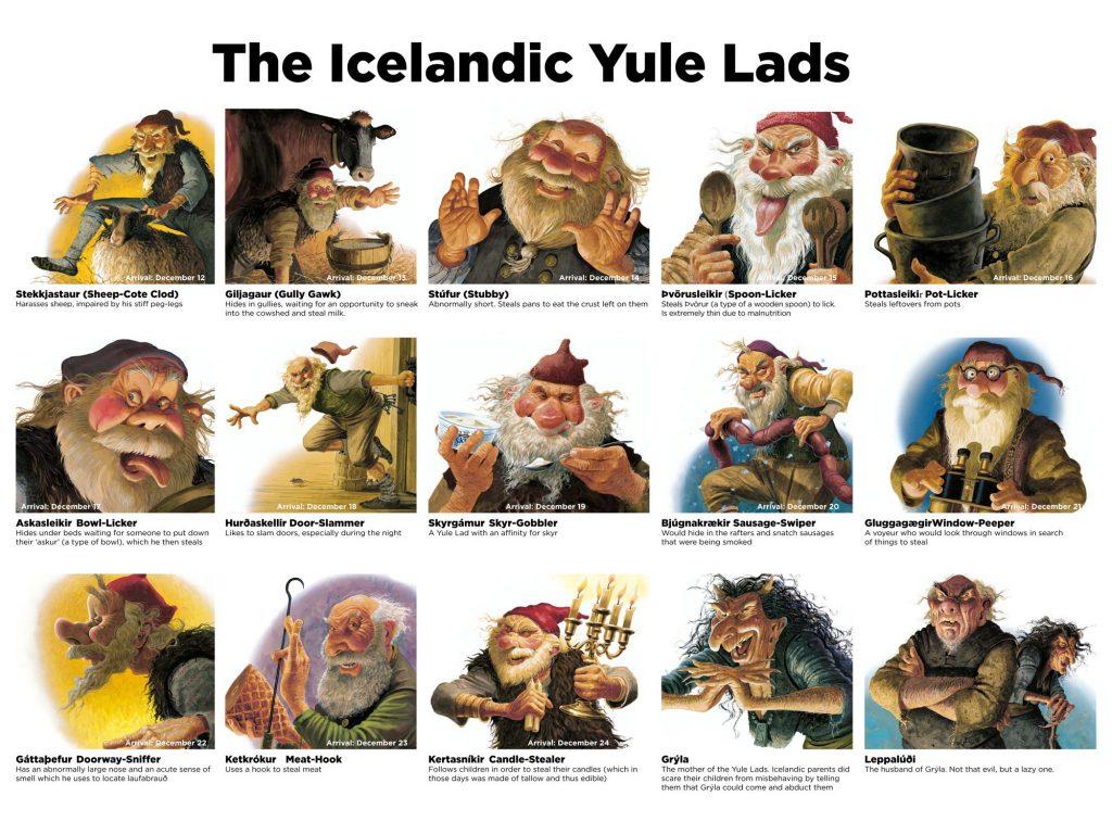 Englische Übersicht über alle isländischen Weihnachtsgesellen (Yule Lads)
