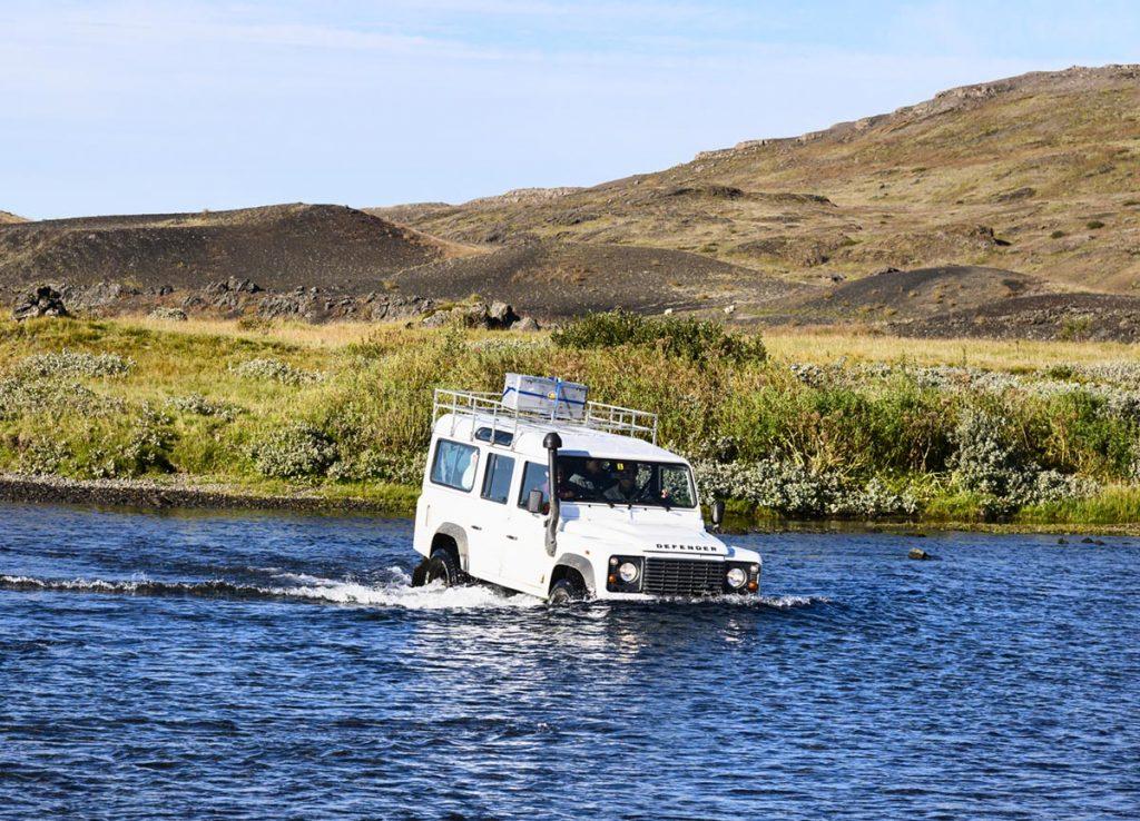 Flussdurchquerung, Land Rover, Hochland, Island