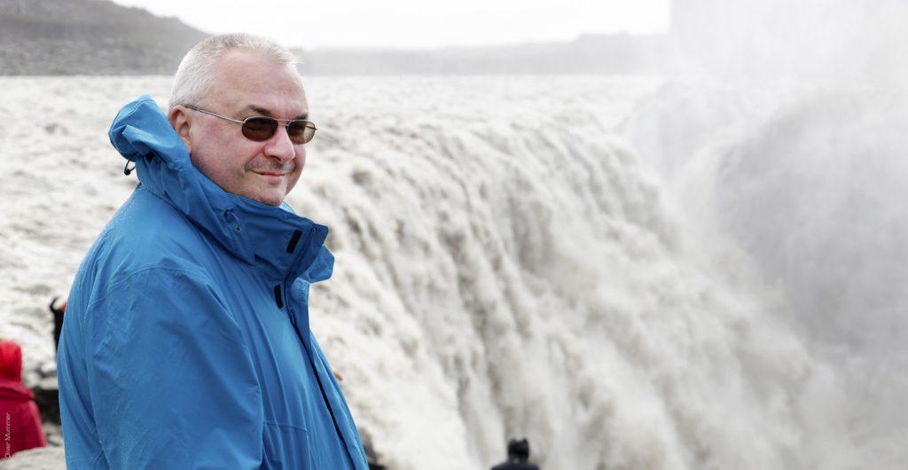 Mann, Dettifoss, Wasserfall, Island