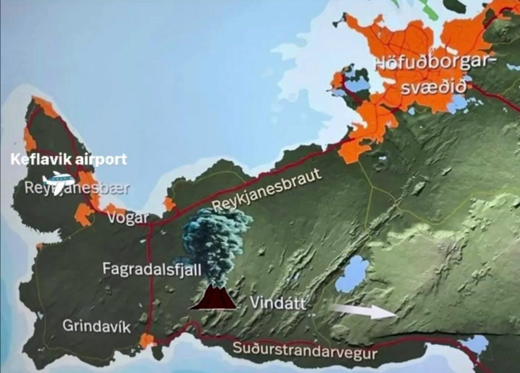 Übersicht Karte reykjanes Halbinsel in Island