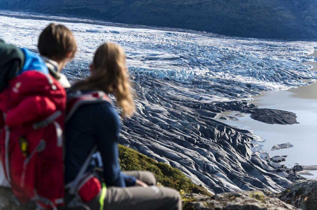 Blick auf die Gletscherzunge des Skaftafellsjökull.